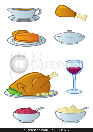 Holiday Dinner Items stock vector