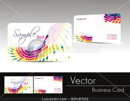multicolor wave background business card stock vector