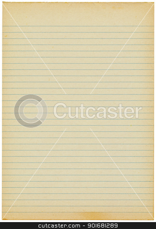 Old yellowing lined blank A4 paper isolated stock photo