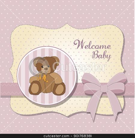 new baby announcement card with teddy bear stock vector