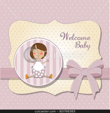 new baby girl announcement card stock vector