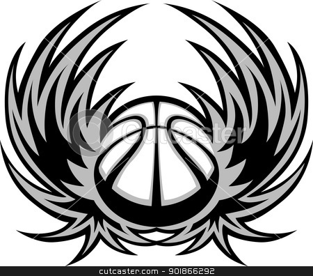 Basketball Template with Wings stock vector - black and white basketball template