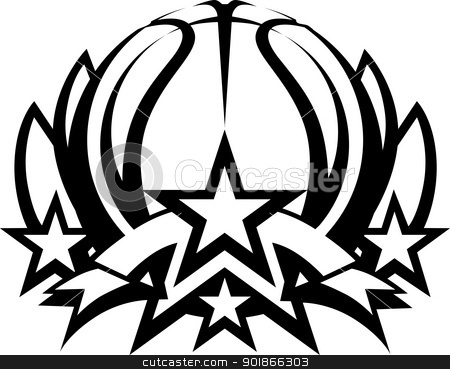 Basketball Vector Graphic Template with Stars stock vector - black and white basketball template
