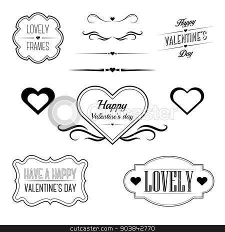Set of decorative frames, sings and borders related to Valentine\u0027s - 's day borders
