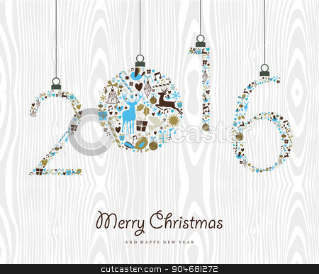 Merry Christmas Happy new year 2016 retro ornament stock vector - watermark christmas
