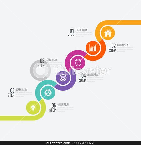 Modern infographics six circle process template stock vector