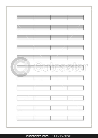 Music sheet a4 format with note staves isolated on white stock vector