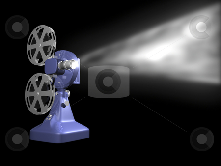 Blue film projector playing stock photo, Blue film projector playing