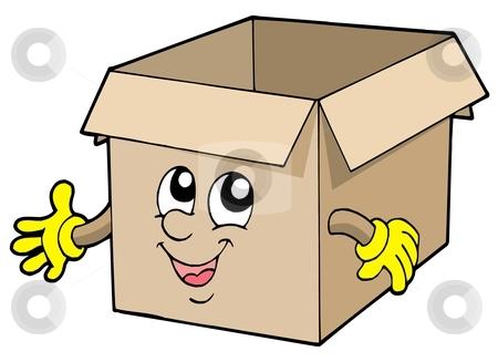 Open Cute Cardboard Box Stock Vector