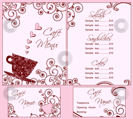Cute Pink Cafe Menu and Business Card Templates, Both Back and Front