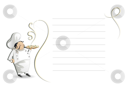 Chef with note pad,menu or recipe stock vector
