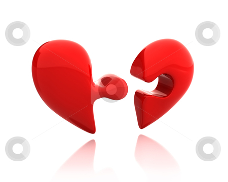 Heart puzzle from two parts broken down stock photo