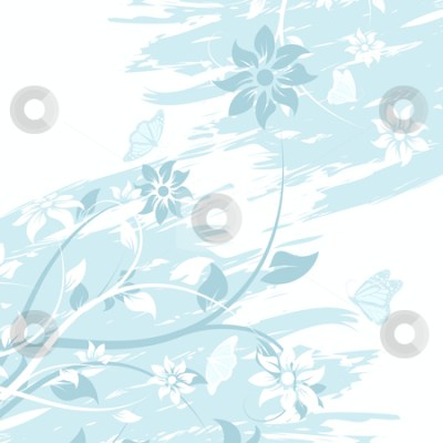 Grunge vector flower background with butterfly stock photo