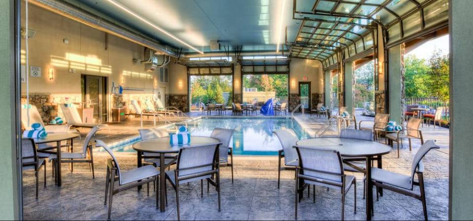 View from the Indoor Pool with open bay doors to the Outside Pool at the Marriott Courtyard Pigeon Forge 960