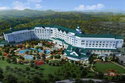 Back top view of the Dollywood DreamMore Resort in Pigeon Forge