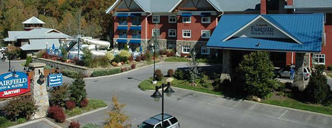 Entrance to the Fairfield Inn and Suites Gatlinburg wide