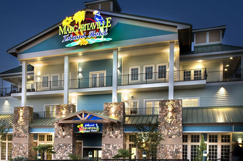Front of the Margaritaville Hotel at The Island in Pigeon Forge Tn