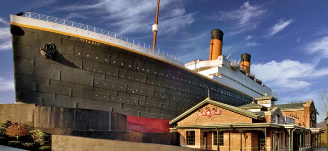 Titanic Museum Front Entrance in Pigeon Forge Tn wide