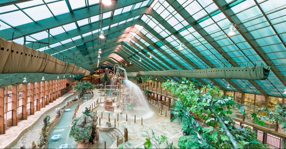 View of the indoor lazy river and kids splash park at the Westgate Smoky Mountian Resort in Gatlinburg 960