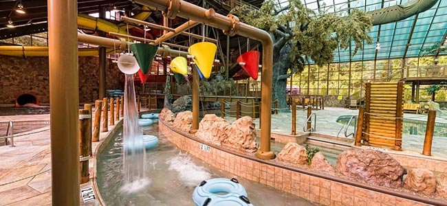 Wild Bear Falls at the Westgate Resort in Gatlinburg Lazy River with Dumping Buckets overhead wide