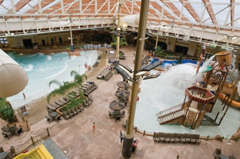 View of the Indoor Waterpark at Wyndham Great Smokies Lodge