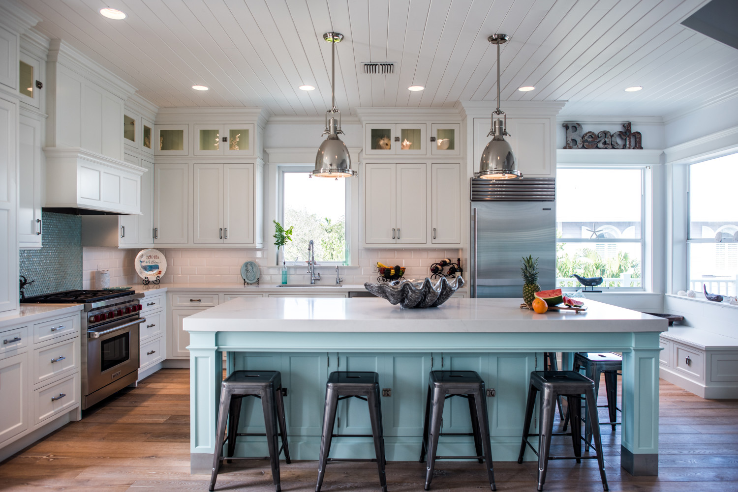 Beach Style Kitchen Cabinets Intracoastal Beach Home With Large Kitchen Island With