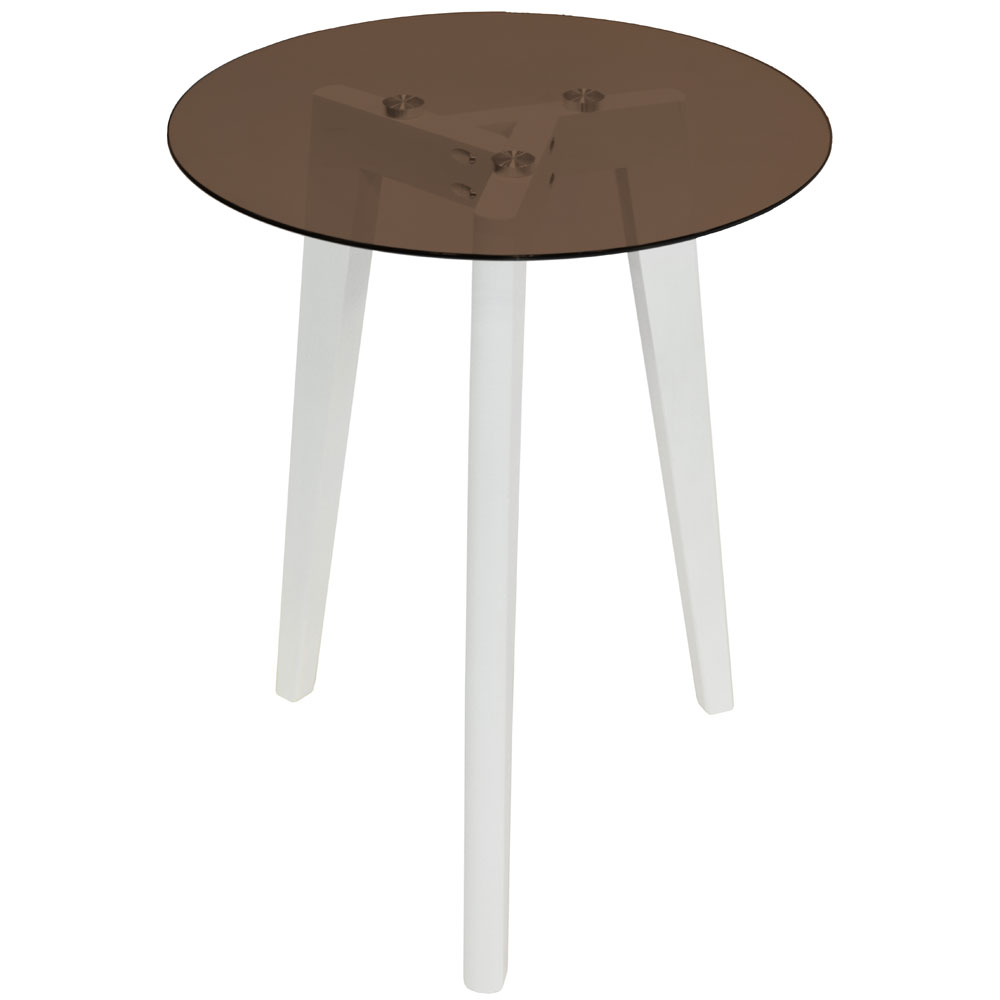 Round Glass Bedside Table Luna Retro Solid Wood Tripod Leg And Round Glass End Side