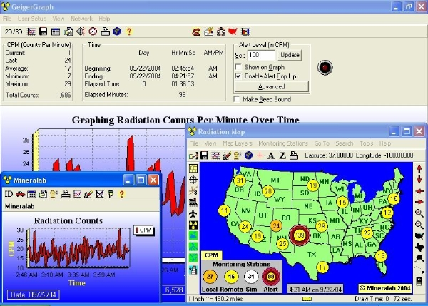 Live real-time monitoring map of radiation counts in the USA Watts