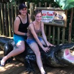 Carla Harth (left) and Beatrice Kuehnl, both from Germany, enjoyed visiting Gomek at the St. Augustine Alligator Farm. Photo provided by Ralf Kuehnl