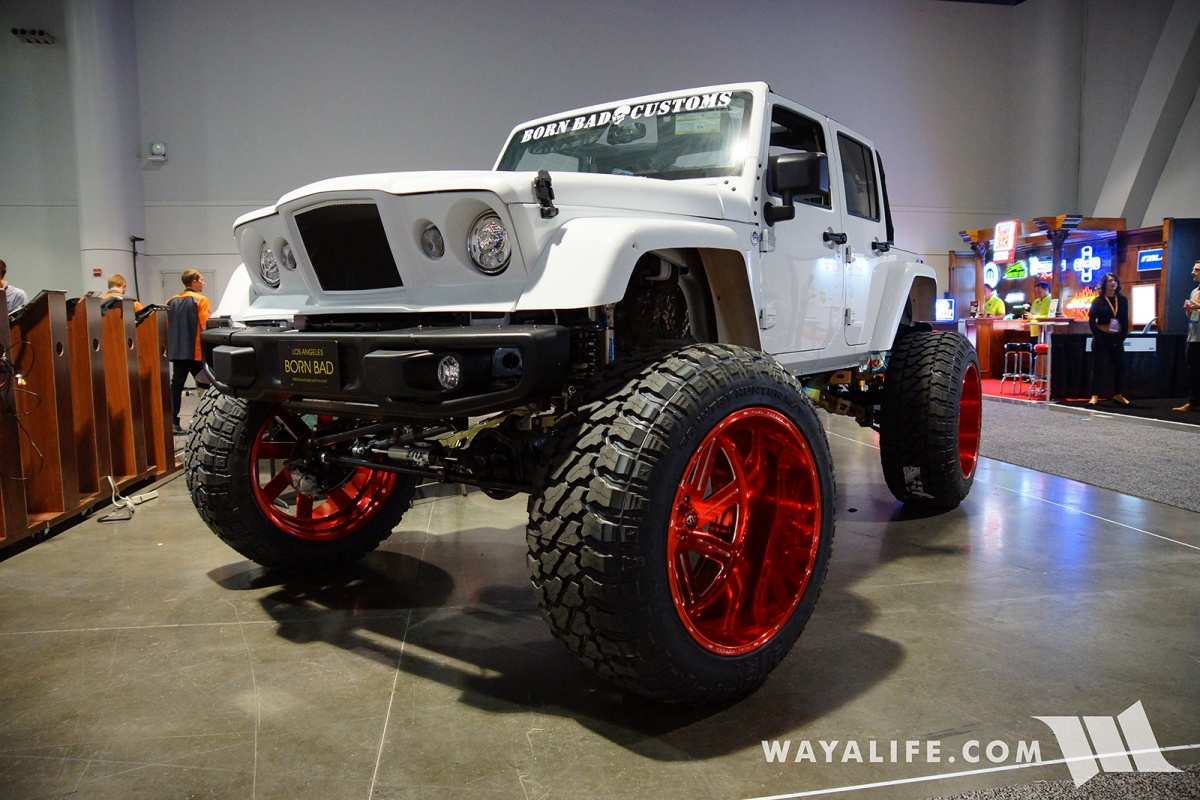 Jeep Jl Accessories 2017 Sema Born Bad Customs White Jeep Jk Wrangler
