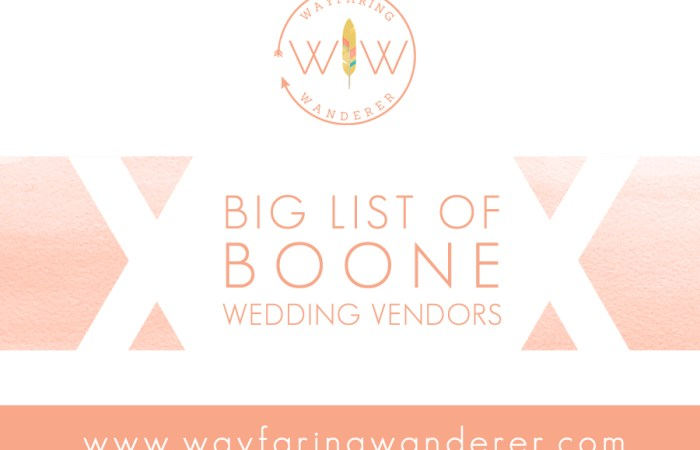 BIG LIST of Boone NC Wedding Vendors