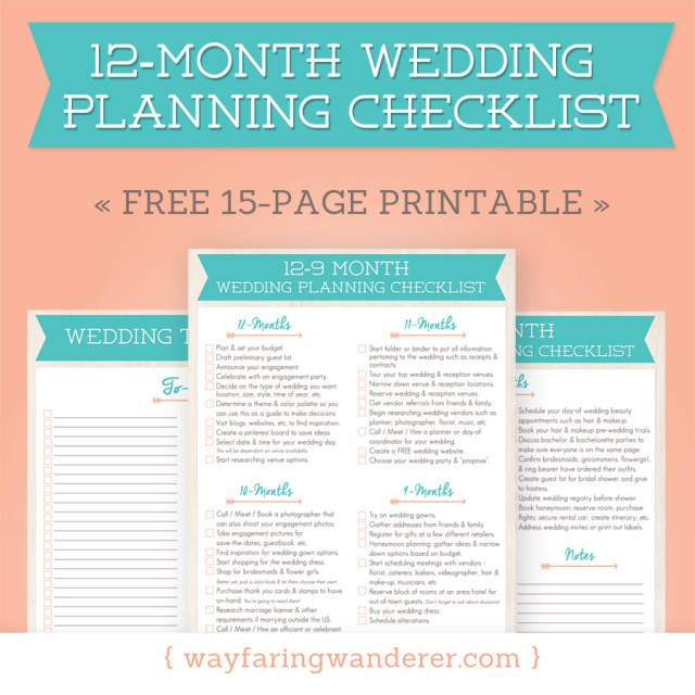 12-Month Wedding Planning Checklist - Free Timeline Printable PDF