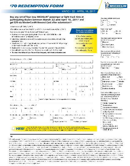 Michelin $70 Rebate Claim Form Wayne\u0027s Tire  Auto Repair - claim form in pdf