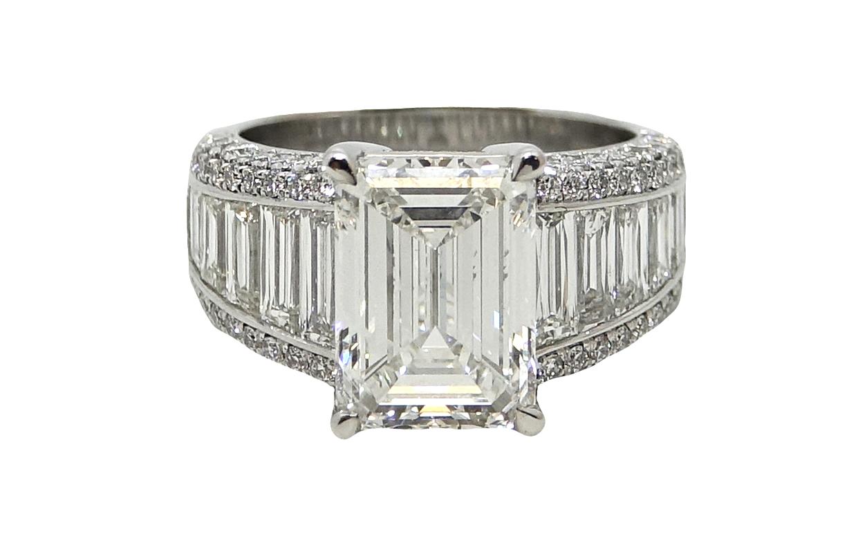 5.01 Carat Emerald Cut Diamond Platinum Ring