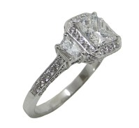 Platinum 1.52 Carat Princess Cut Diamond Engagement Ring ...