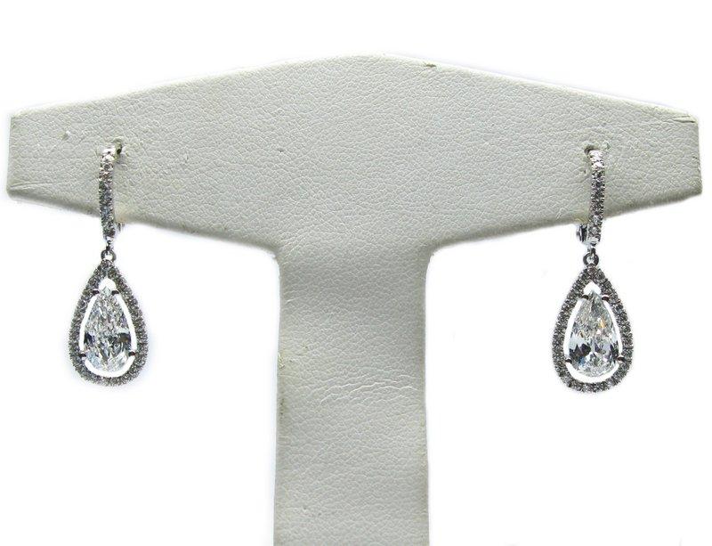 Cozy Gia 204ctw Pear Diamond Leverback Frame Earrings World39s Best ...