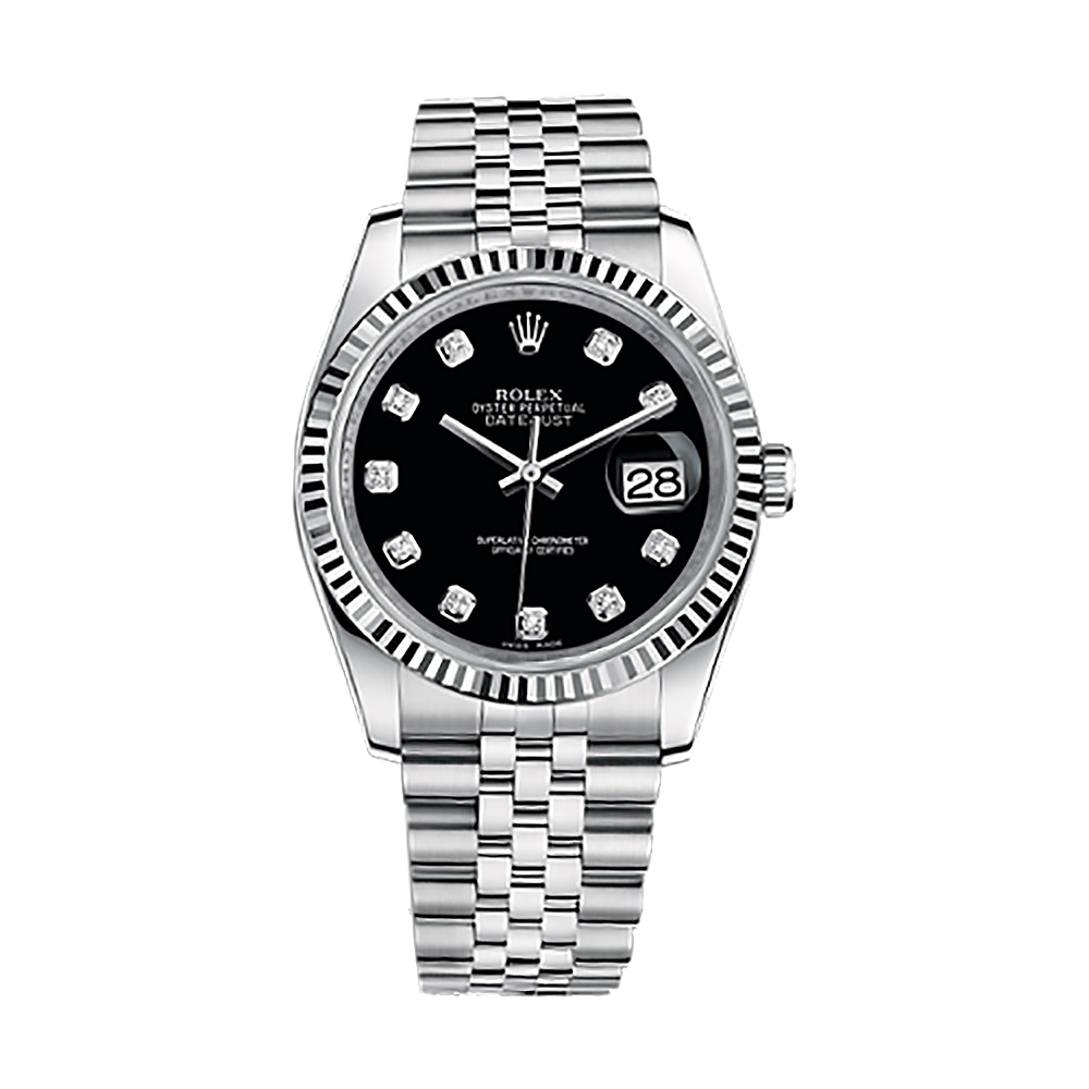 Stainless Rolex Rolex Datejust 36 116234 White Gold Stainless Steel Watch Black Set With Diamonds