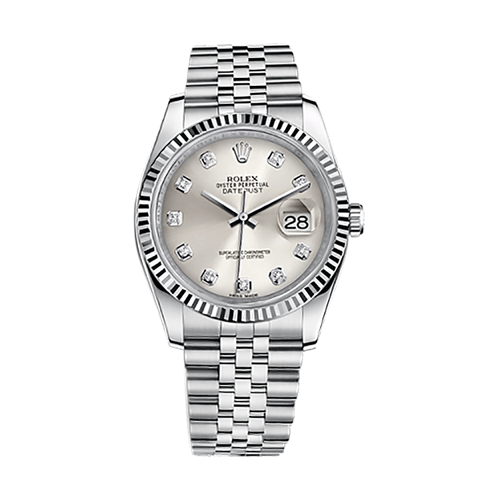 Stainless Rolex Rolex Datejust 36 116234 White Gold Stainless Steel Watch Silver Set With Diamonds
