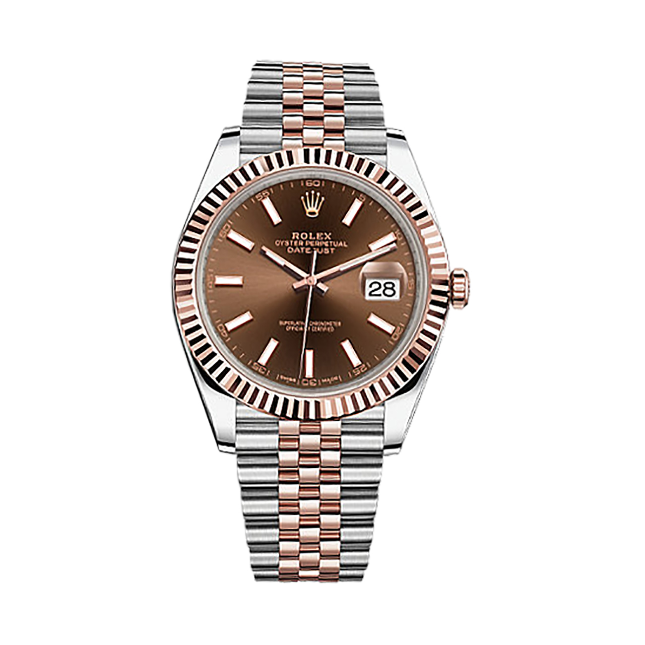 Steel Rolex Rolex Datejust 41 126331 Rose Gold Stainless Steel Watch Chocolate