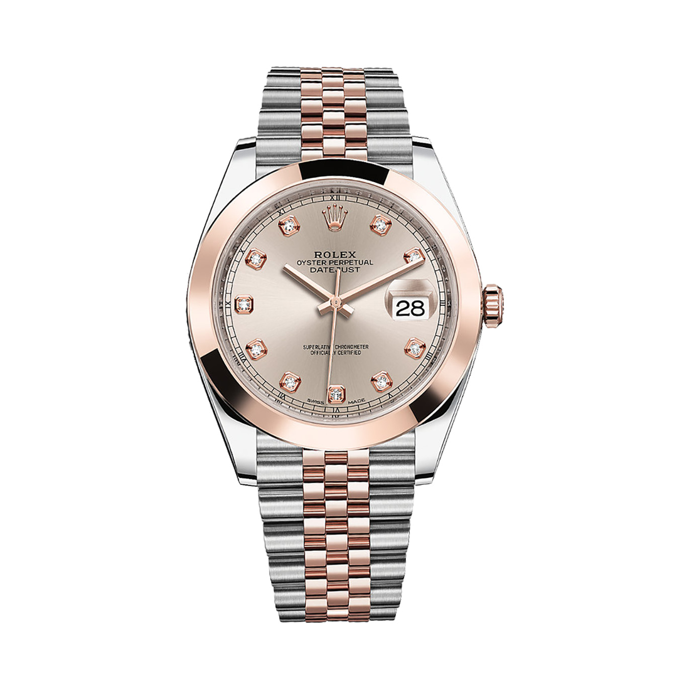Rolex Oyster Perpetual Rose Gold Rolex Datejust 41 126301 Rose Gold Stainless Steel Watch Sundust Set With Diamonds