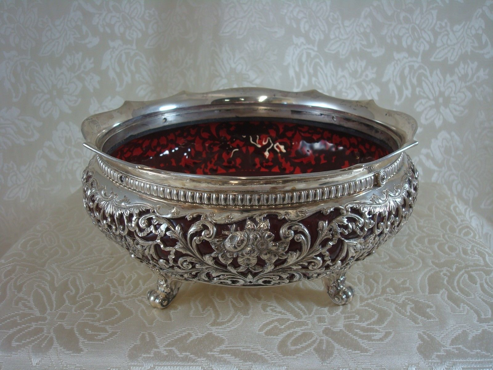 Metal Centerpiece Bowl Gorham Sterling Silver Centerpiece Bowl W Ruby Glass