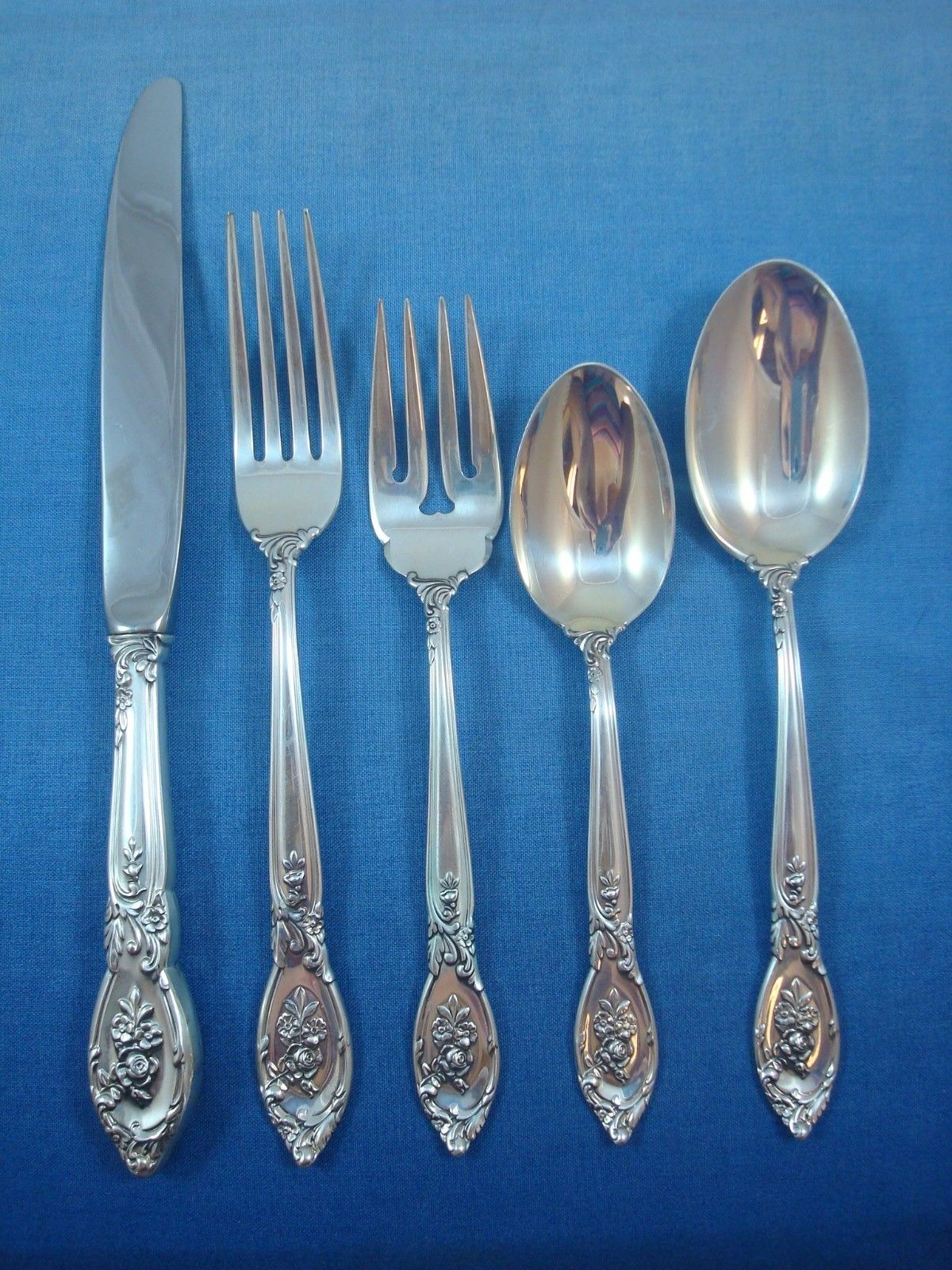 Elegant Flatware Sets Rose Elegance By Lunt Sterling Silver Flatware Service Set