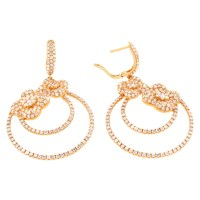 18K Pink Gold Earrings with Diamonds   World's Best