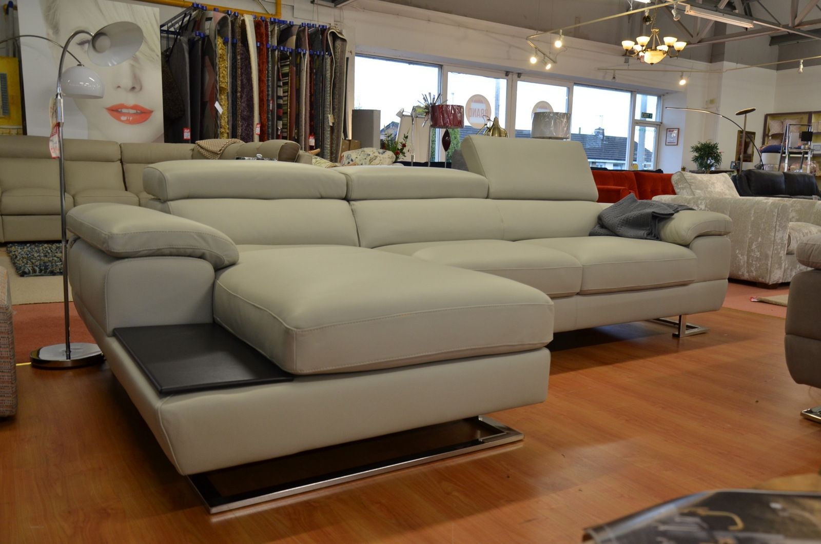 Designer Sofas Feroce Large Chaise Sofa In Luxury Grey Leather With Adjustable Headrests