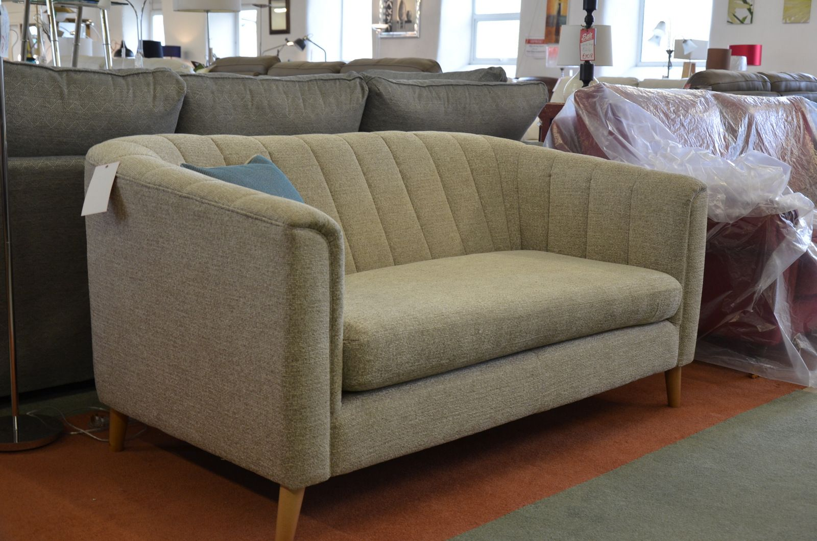 Ex Display Sofa Pimlico Two Seater Sofa In Beige Fabric