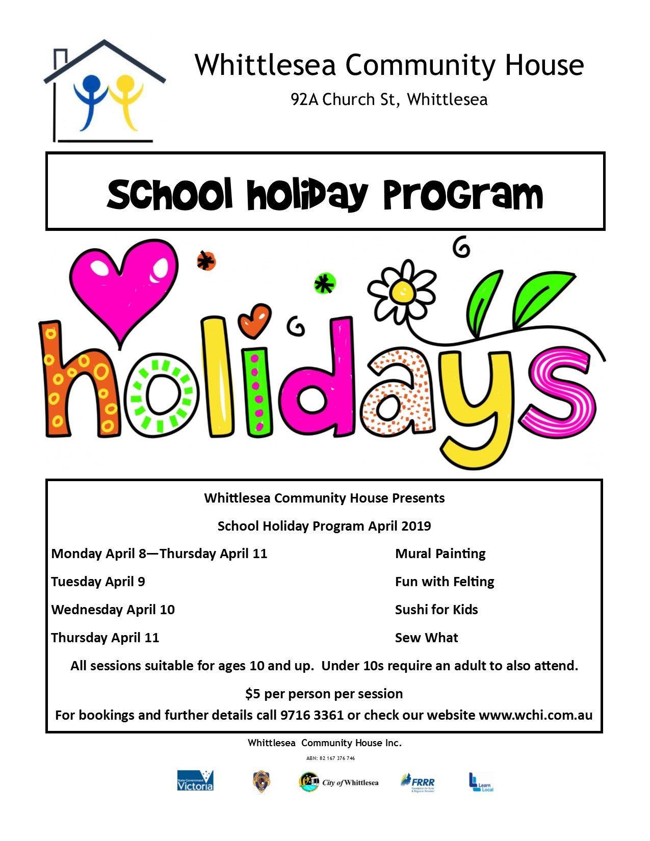 School Hoildays School Holiday Program April 2019 Whittlesea Community House Inc