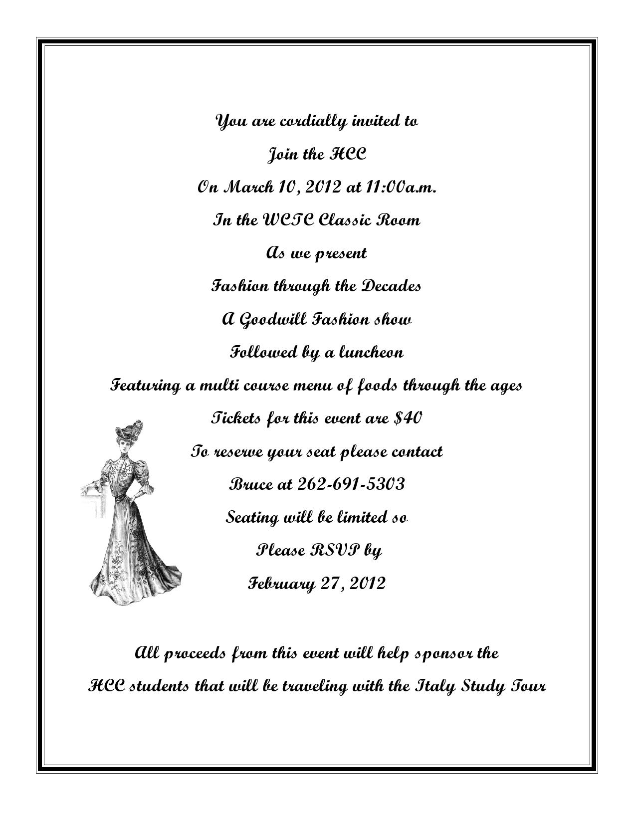 Letter Of Invitation For A Fashion Event Premium Invitation