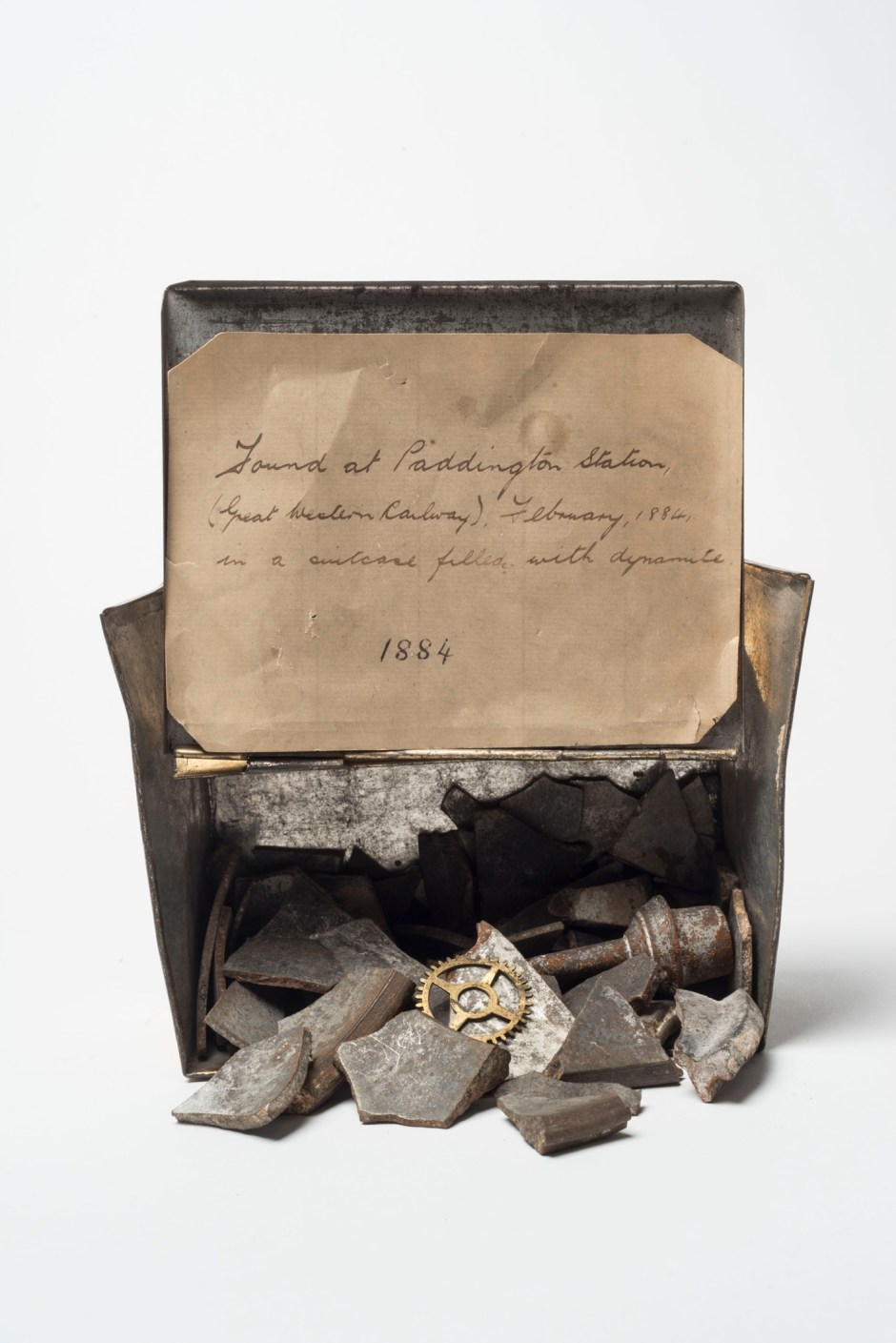 Terrorism: Shrapnel from an unexploded Fenian bomb found at Paddington Station 1884 © Museum of London