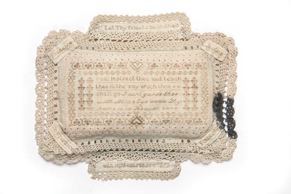 A curious pin-cushion embroidered with human hair by Annie Parker, a woman who, in her tragically short life, was arrested over 400 times for alcohol-related offences (1879). © Museum of London / object courtesy the Metropolitan Police's Crime Museum