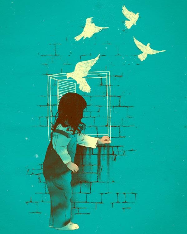 Sad Eyes Girl Wallpaper Colorful Illustration By Matheus Lopes